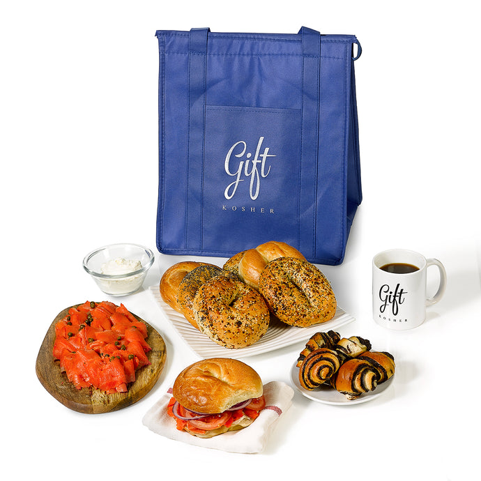 Tote bag with Bagels, Lox and cream cheese from Gift Kosher