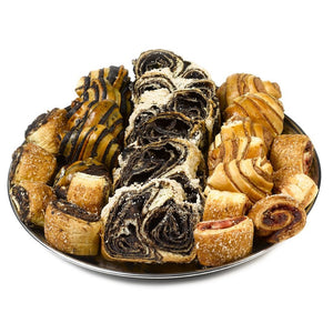 Platter with Chocolate Babka & Assorted Rugelach Baked goods - Gift Kosher