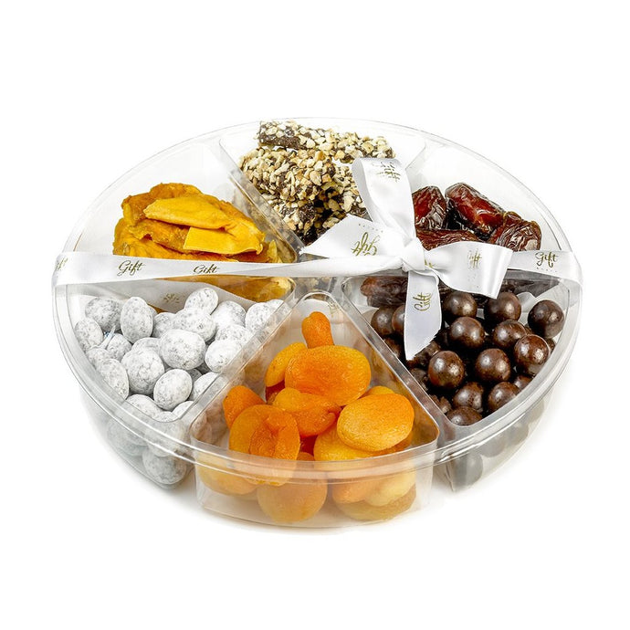 Gift Kosher Tray filled with Chocolates, Dried Fruit, & Dates