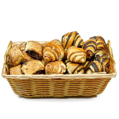 Gift Kosher Basket with Chocolate & cinnamon Rugelach, that tastes homemade.