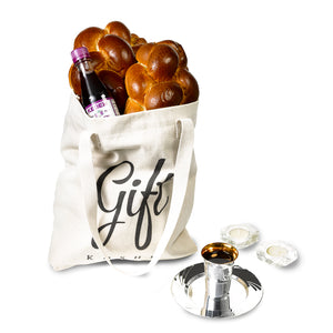 Shabbat essentials in a Gift Kosher tote bag