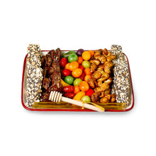 Rosh Hashana ceramic apple & honey tray filled with candies & Nuts by Gift Kosher