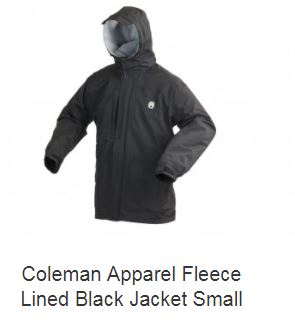 Coleman Apparel Fleece Lined Black Jacket Small