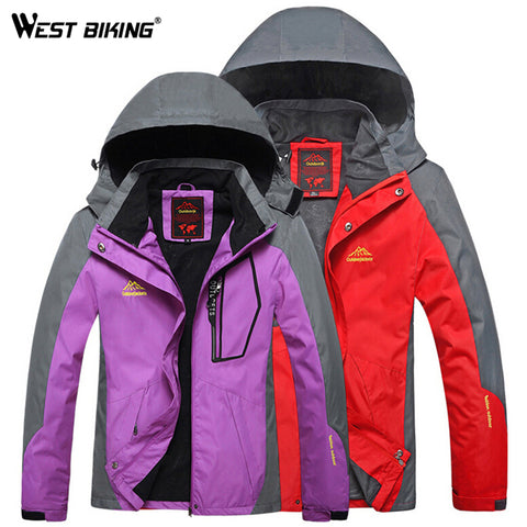 WEST BIKING Waterproof Windproof Hooded Jacket Warm Plus Size Outdoor Sport Jackets Cycling Hiking Climbing Winter Couple Jacket