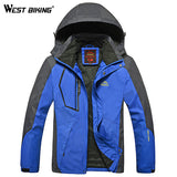 WEST BIKING Men Winter Waterproof Windproof Hooded Jacket Outdoor Sport Warm Large Size Hiking Cycling Mountain Climbing Jacket