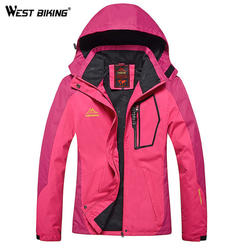 WEST BIKING Winter Waterproof Windproof Hooded Jacket Warm Plus Size Outdoor Sport Jackets Cycling Hiking Climbing Women Jacket