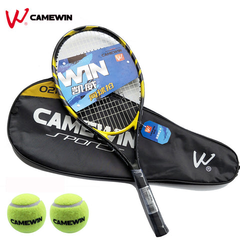 1 Pcs 75cm Aluminum Alloy Tennis Racket CAMEWIN Brand Tennis Racket With Bag (2 Tennis Balls Free Gift) Color: Black Yellow