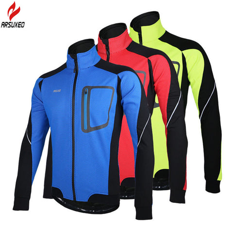 ARSUXEO Men Hiking Jacket Coat Fleece Thermal Windproof Windbreaker Outdoor Sport MTB Riding Running Camping Jacket Winter