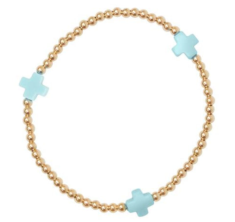Enewton Signature Cross Bracelet 2mm Bracelets in Turquoise at Wrapsody