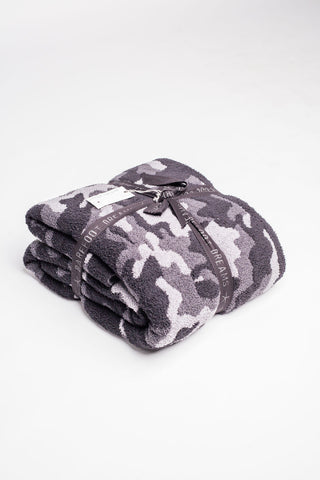 Barefoot Dreams CozyChic Camo Throw Blanket Blankets & Throws in Carbon at Wrapsody