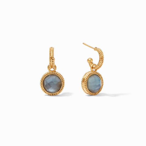 Julie Vos Fleur-de-Lis Hoop & Charm Earring in Iridescent Slate Blue Earrings in Default Title at Wrapsody