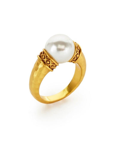 Julie Vos Catalina Ring Gold Pearl - Size 7