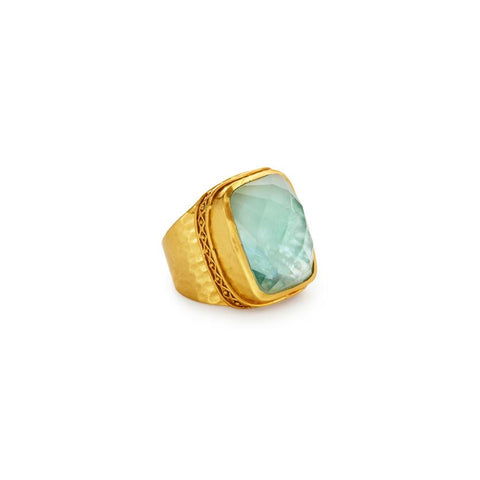 Julie Vos Catalina Statement Ring Aquamarine Blue- Size 8/9