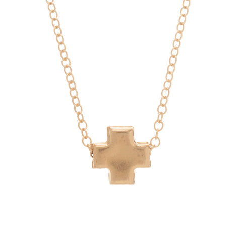 eNewton Signature Cross Necklace Matte Gold Mini