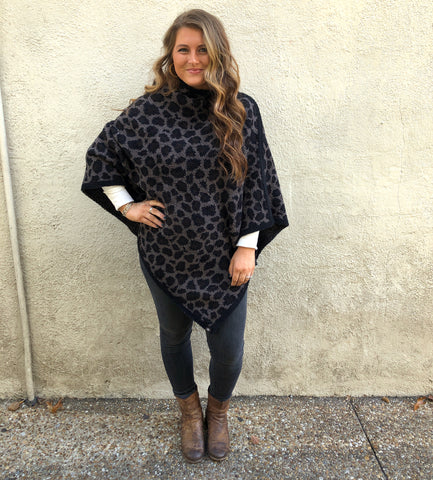 Barefoot Dreams CozyChic Leopard Poncho Loungewear in Espresso Multi at Wrapsody