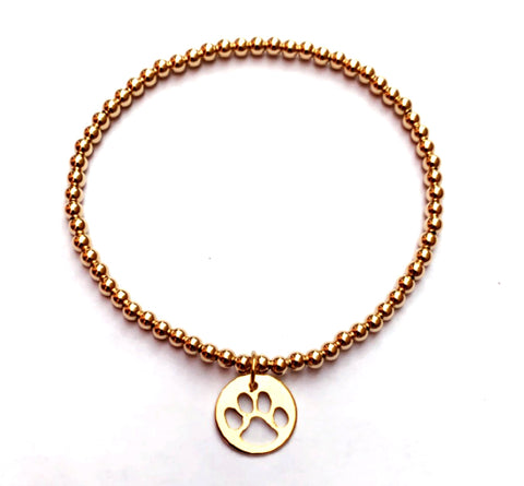 Enewton Design Classic 3mm Gold Bracelet with Paw Charm