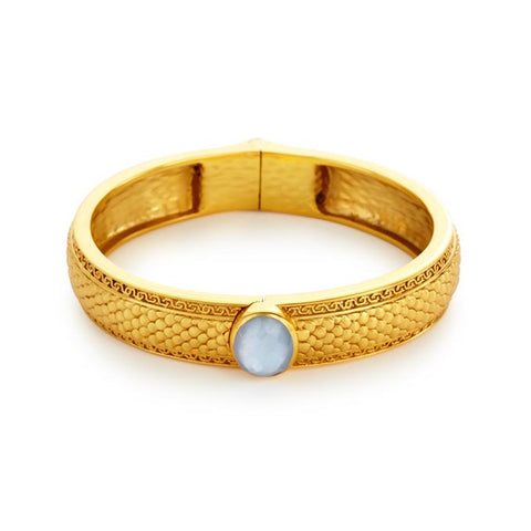 Julie Vos Medici Single Stone Hinged Bangle - Blue