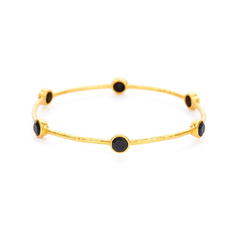 Julie Vos Milano 6 Stone Bangle in Black Onyx Bracelets in  at Wrapsody