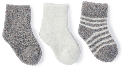 Barefoot Dreams CozyChic Lite Infant 3 Pack Sock Set Baby in Pewter at Wrapsody