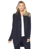 Barefoot Dreams CozyChic Lite Circle Cardigan Loungewear in Black at Wrapsody