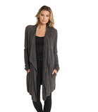 Barefoot Dreams CozyChic Lite Island Wrap Cardigan Loungewear in Carbon at Wrapsody