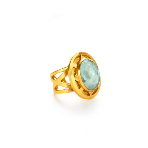 Julie Vos Tivoli Ring - Aquamarine Blue OS