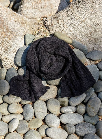 Barefoot Dreams CozyChic Lite Ribbed Scarf Outerwear in Black at Wrapsody