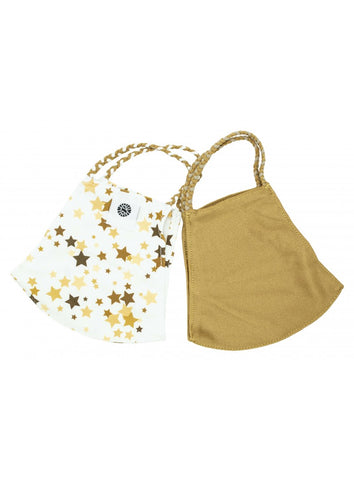 Face Mask Set of 2 Travel Accessories in Gold/Stars at Wrapsody
