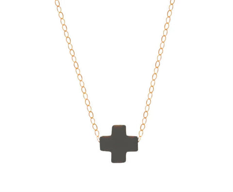 eNewton Signature Cross Necklace Charcoal Necklaces in  at Wrapsody