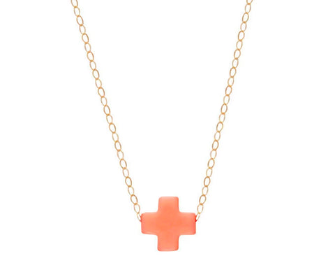 eNewton Signature Cross Necklace Coral