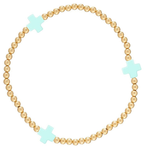 eNewton Signature Cross Bracelet Gold/Mint Bracelets in  at Wrapsody