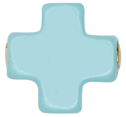 eNewton Signature Cross Stud Earrings Turquoise