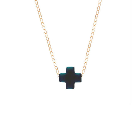 eNewton Signature Cross Necklace Navy Necklaces in  at Wrapsody