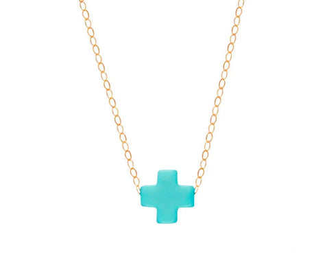 eNewton Signature Cross Necklace Turquoise Necklaces in  at Wrapsody