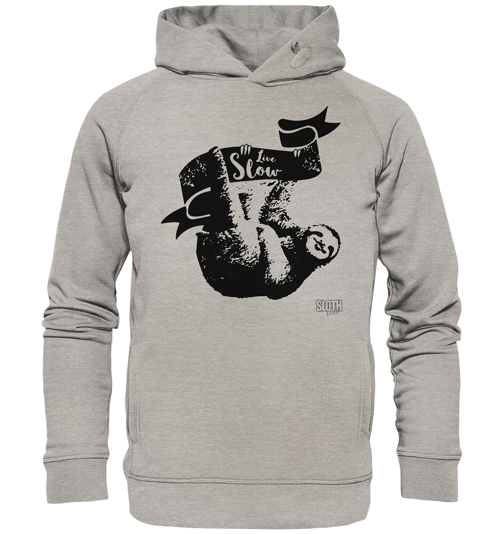 Live Slow Faultier Männer Hoodie Organic Hooded Sweat - SLOTH & friends