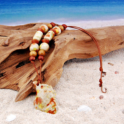 Ceramic Sea Shell and Wood Leather Necklace