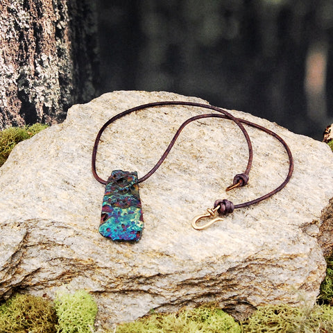 Chalcopyrite and Leather Necklace