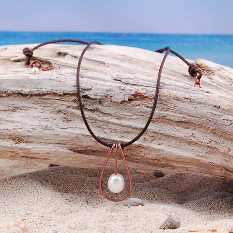 Freshwater Pearl And Copper Leather Necklace