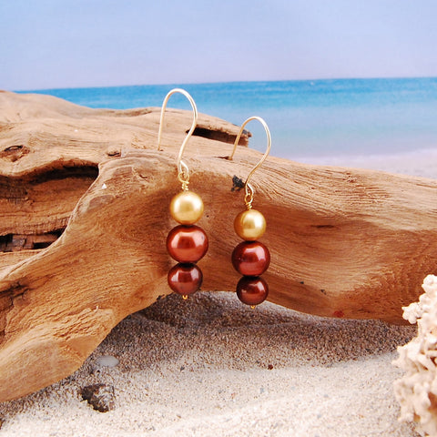 Bronze and Copper Freshwater Pearl Earrings
