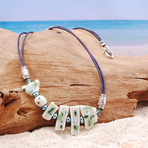 Ceramic Fish and Freshwater Pearl Necklace