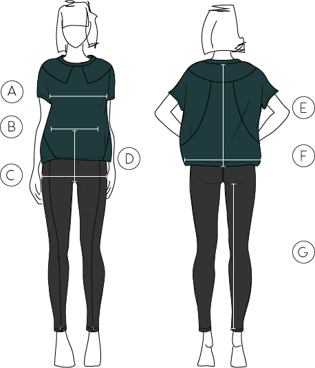 Front and back diagrams showing where to take measurements when finding your size
