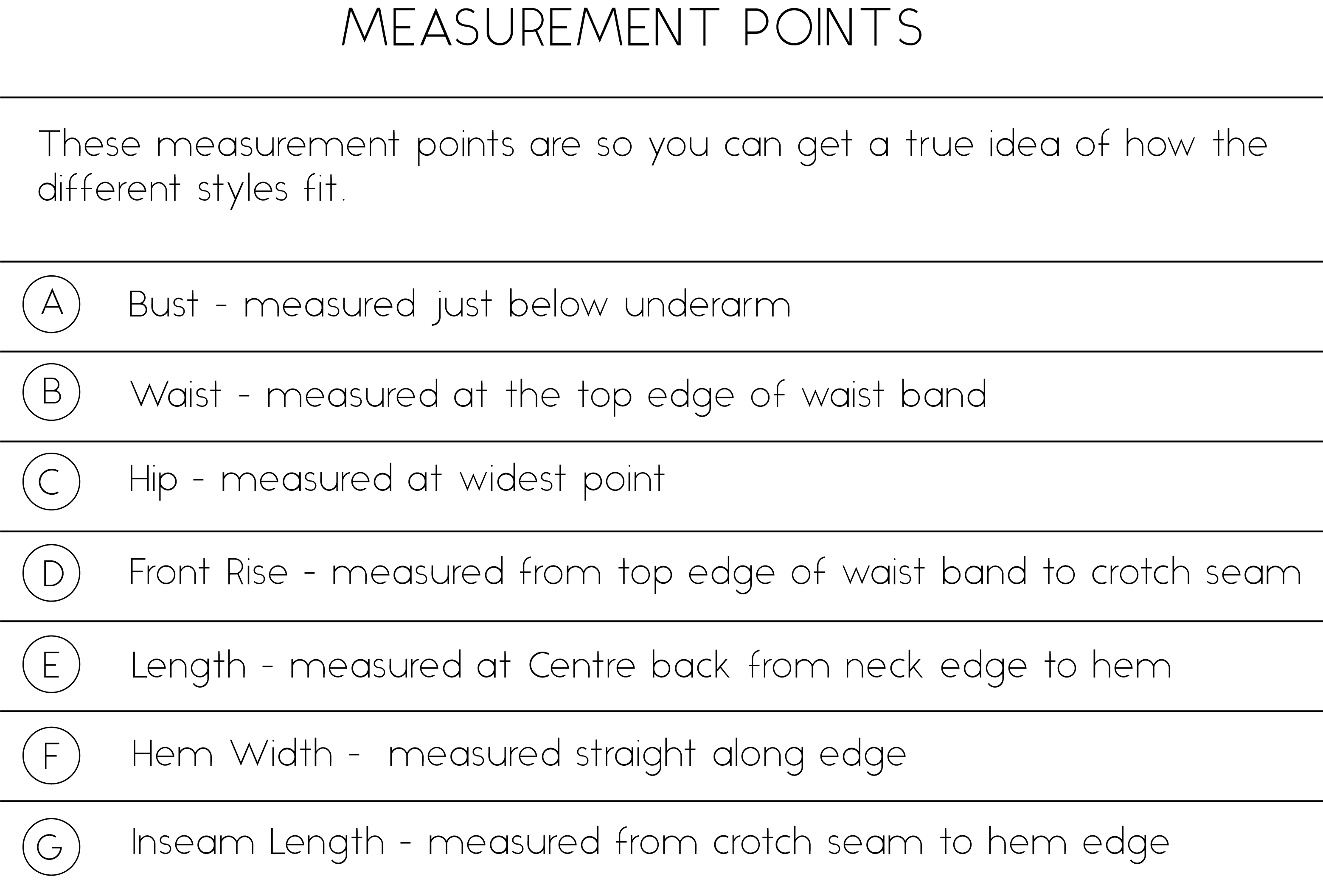 How to measure the various measurement points on a garment