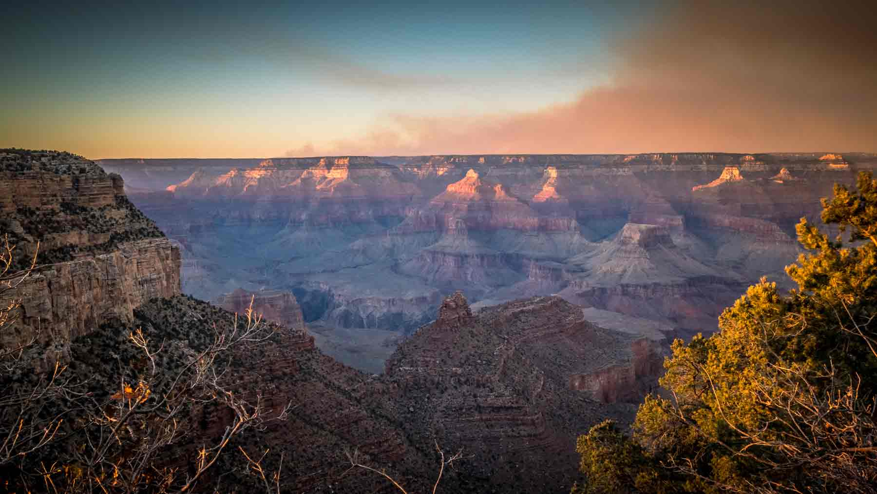 Smoke over the North Rim of the Grand Canyon as the sun set