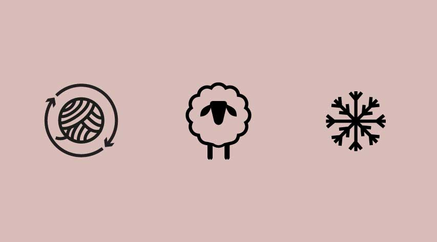 symbols for repurposed yarn, merino lambs wool and thermal protection
