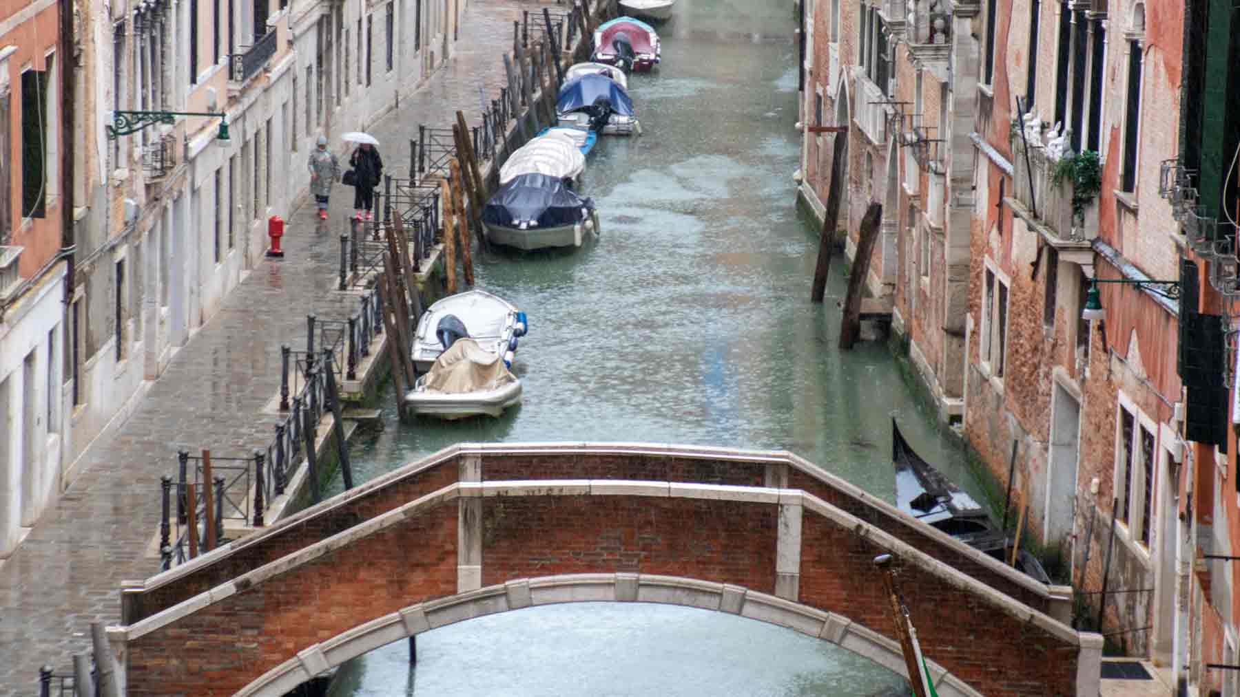 Rain on a canal in Venice, people are walking with umbrellas