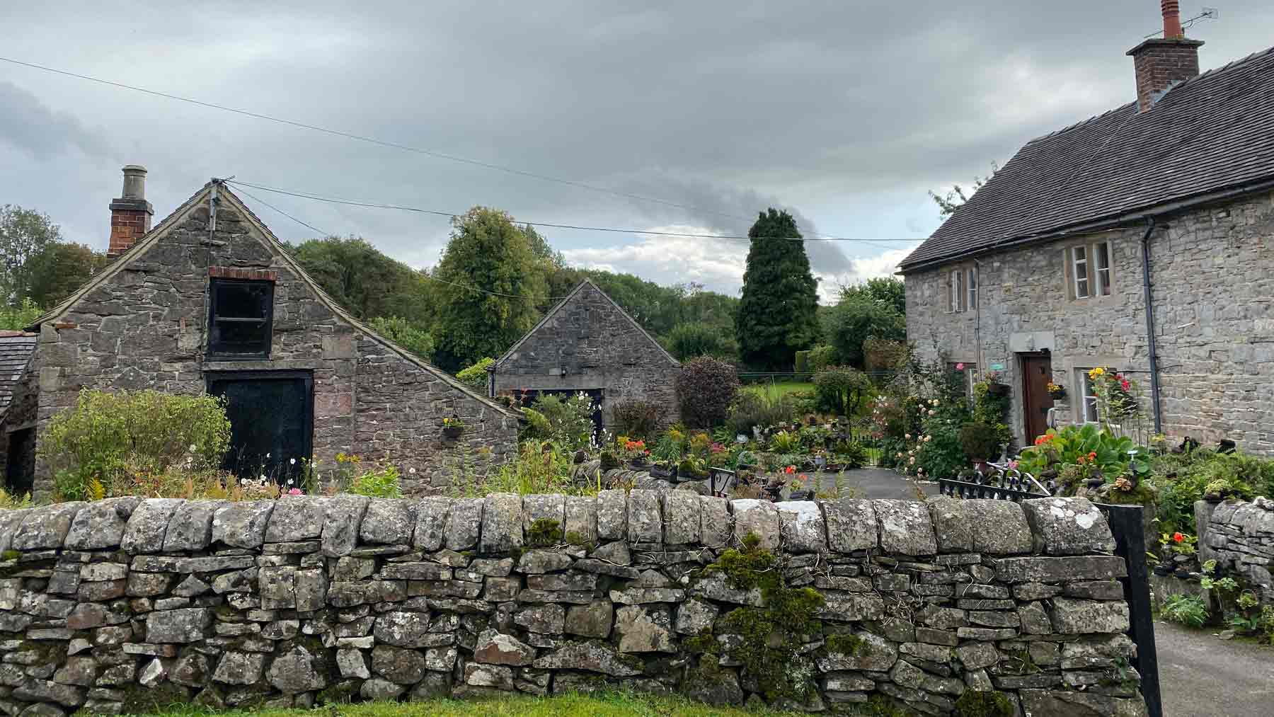 Stone cottages in the beautiful village of Tissington, Peak District