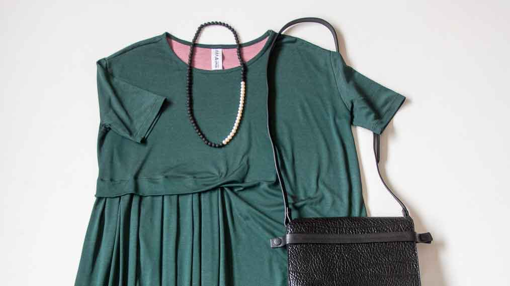 Dress up in the Asmuss Asymmetric Pleat Dress in Pine Green when you're working from home