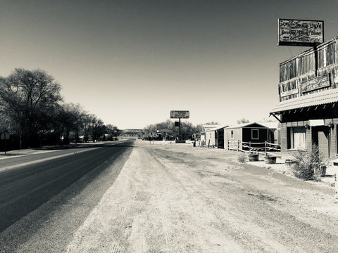 View down the road outside the Dia Art Foundation office Quemado New Mexico