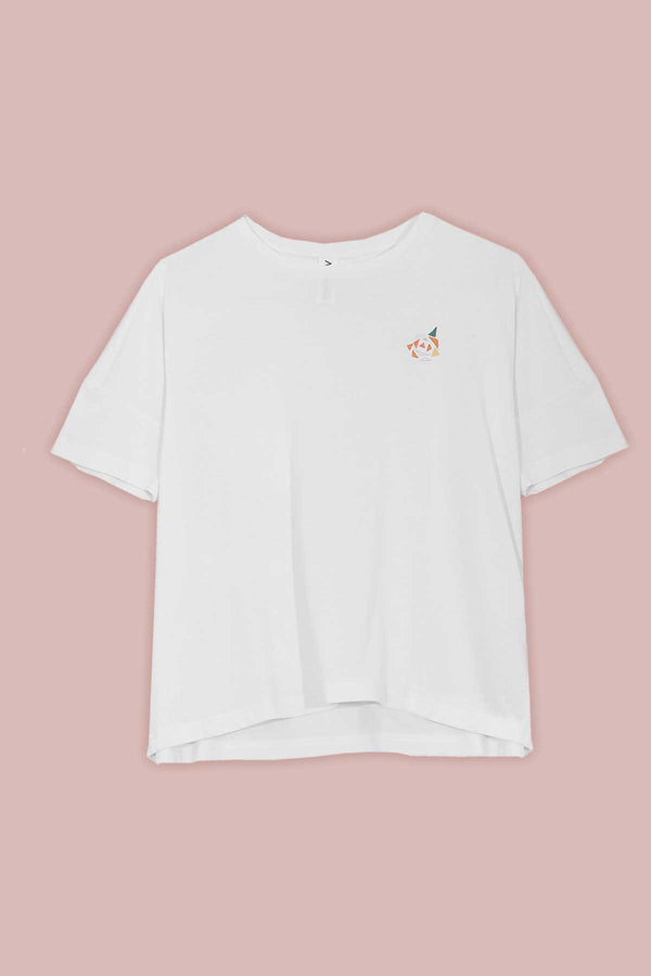 Boxy T-shirt with Rose Embroidery