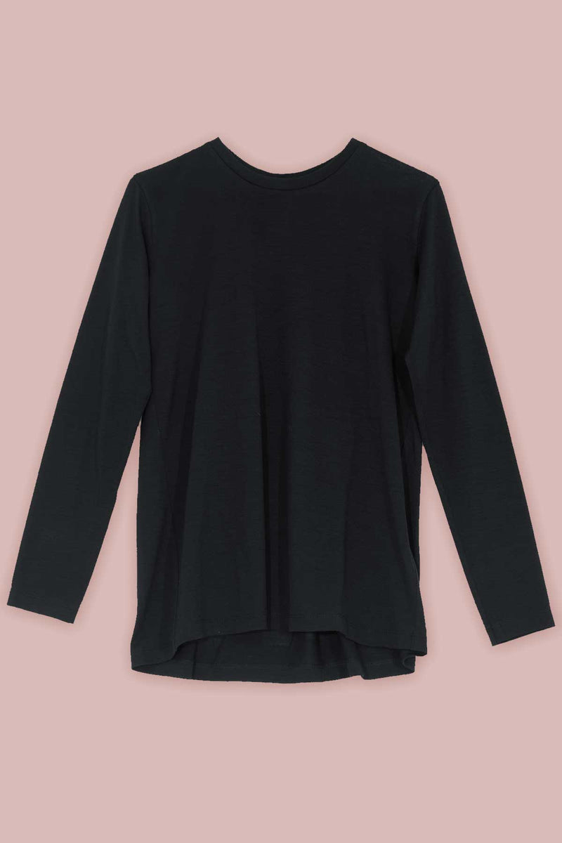Inverted Pleat Long Sleeve T-shirt in Black